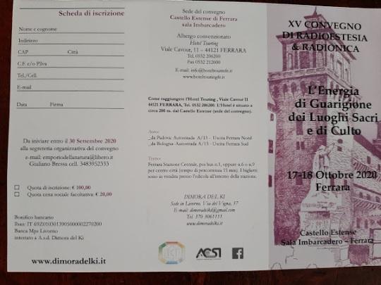 Radiestesia e Radionica Evento Ferrara Giuliano